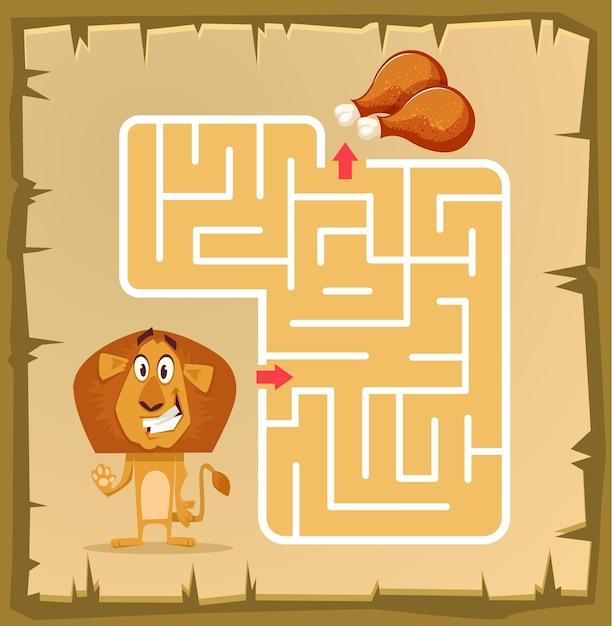 Labyrintspel voor kinderen met leeuw cartoon afbeelding Premium Vector