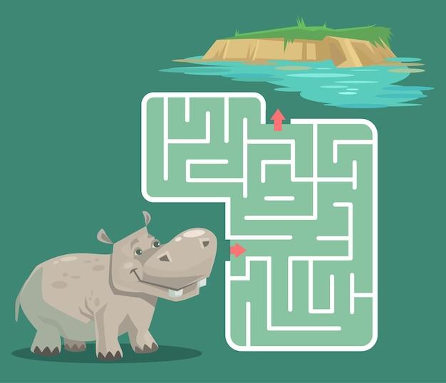 Labyrintspel voor kinderen met nijlpaard cartoon afbeelding Premium Vector