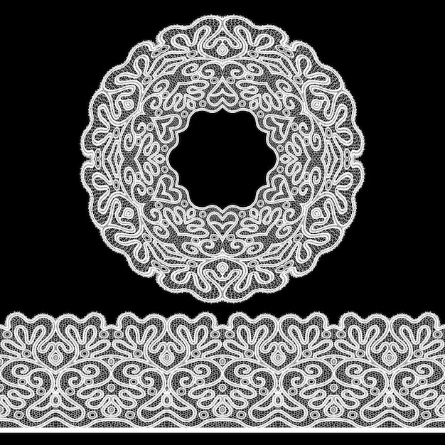 Lace border set Gratis Vector