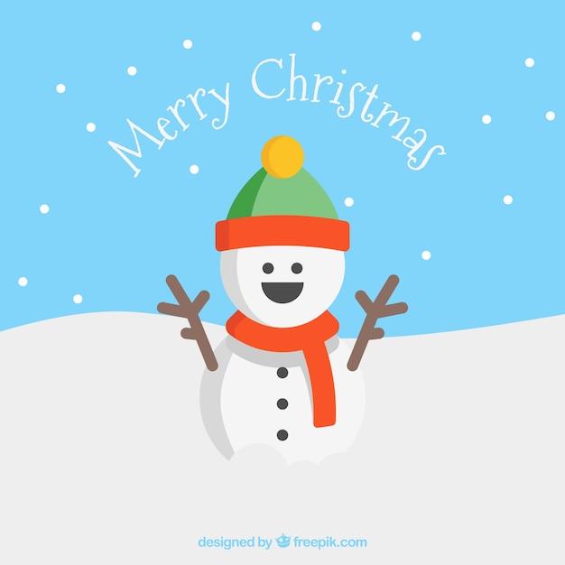 Lachend sneeuwpop wenskaart Gratis Vector