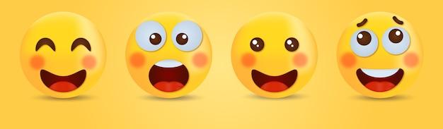 Lachende emoticon met lachende ogen - happy smiley face cute emoji Premium Vector