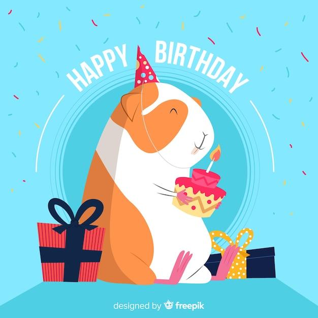 Lachende Hamster Verjaardag Achtergrond Vector Gratis Download