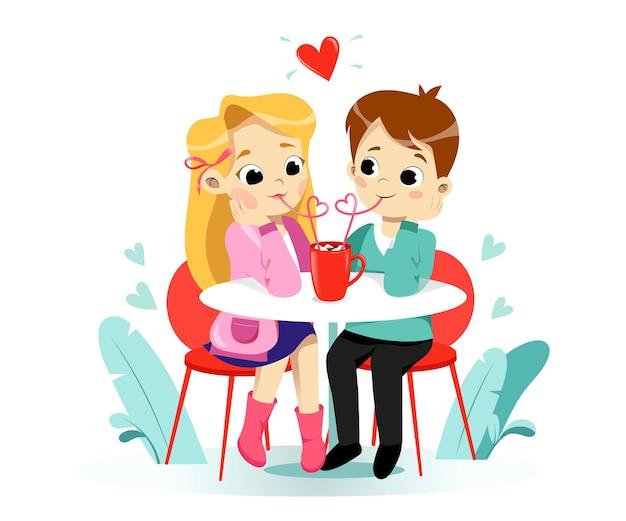 Lachende happy cartoon preschool jongen en meisje kinderen genieten van het drinken van cacao met marshmallow. kinderen stripfiguren. vlakke stijl Premium Vector