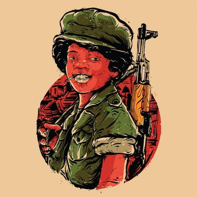 Lachende jongen soldaat illustratie Premium Vector