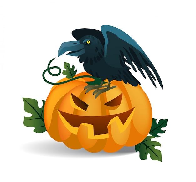 Lachende pompoen en kraai zittend op het. halloween stripfiguren Gratis Vector