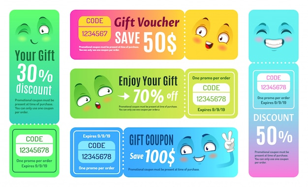 Lachende promobon. happy gift coupon, grappige deal vouchers en cadeaubonnen coupons sjabloon set Premium Vector