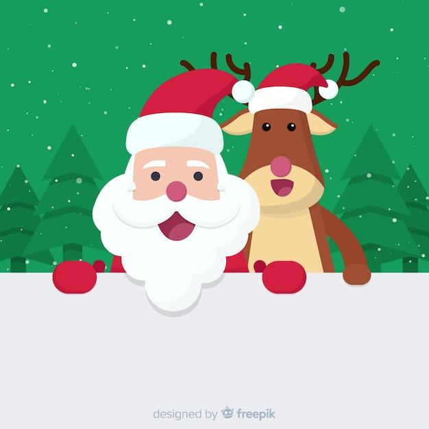Lachende santa en rendieren achtergrond Gratis Vector