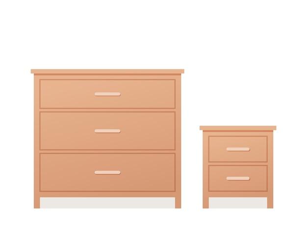 Ladekast en dressoir in plat ontwerp. illustratie. Premium Vector