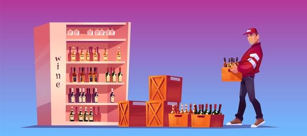 Lader draagt een doos met flessen om op te slaan, winkelopslag of bar. levering van alcoholische dranken. cartoon afbeelding met man met houten kist met wijn en glazen flessen op stand Gratis Vector