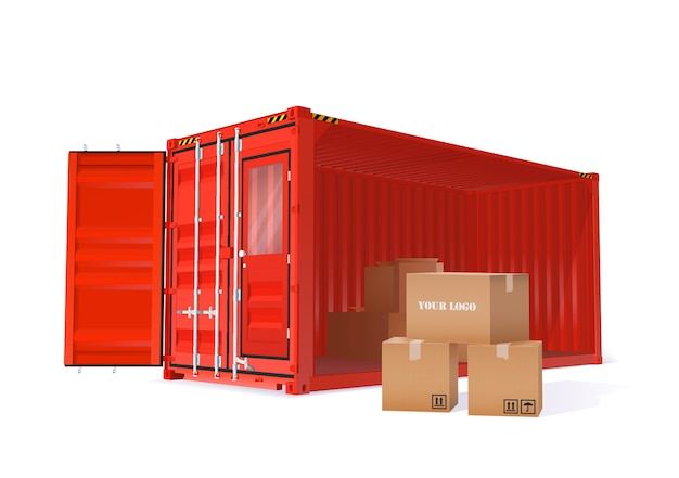 Lading container illustratie Premium Vector