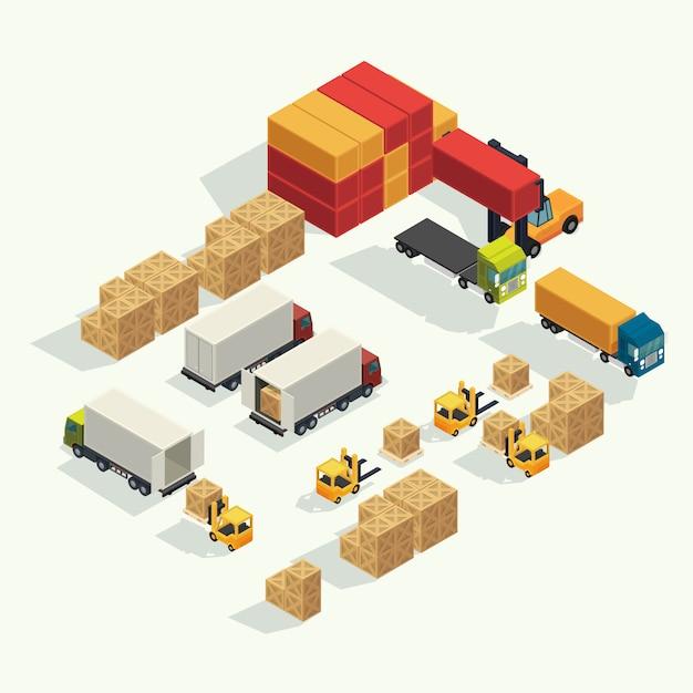 Ladingslogistiekvrachtwagen en vervoerscontainer met opheffende de ladingscontainer van de vorkheftruck in verschepende werf. isometrische illustratie vector Premium Vector