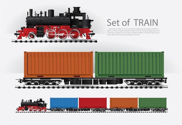 Ladingstrein op een spoorweg vectorillustratie Gratis Vector