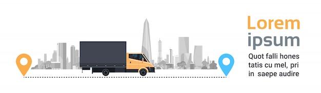 Ladingsvrachtwagen over silhouetstad op route. vervoer en levering service concept horizontale banner Premium Vector