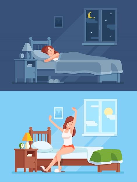 Lady vredig slapen onder een dekbed in een comfortabel bed 's nachts,' s ochtends wakker worden en zittend uitrekken Premium Vector