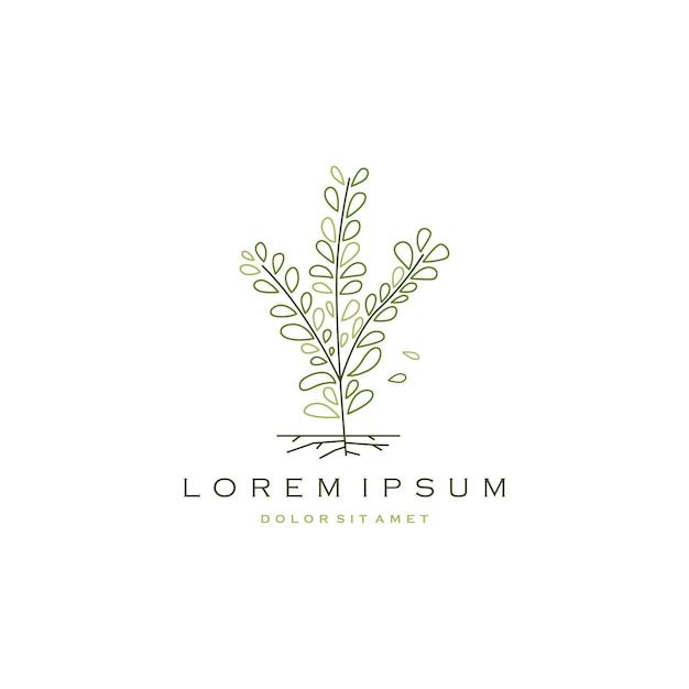 Lage boom tak blad logo pictogram vectorillustratie Premium Vector