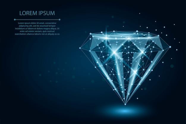 Lage poly diamant bestaande uit punten en lijnen Premium Vector