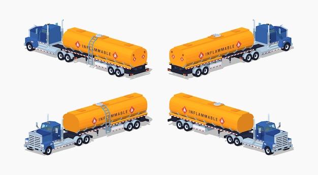 Lage polyblauwe vrachtwagen met de oranje brandstoftank Premium Vector