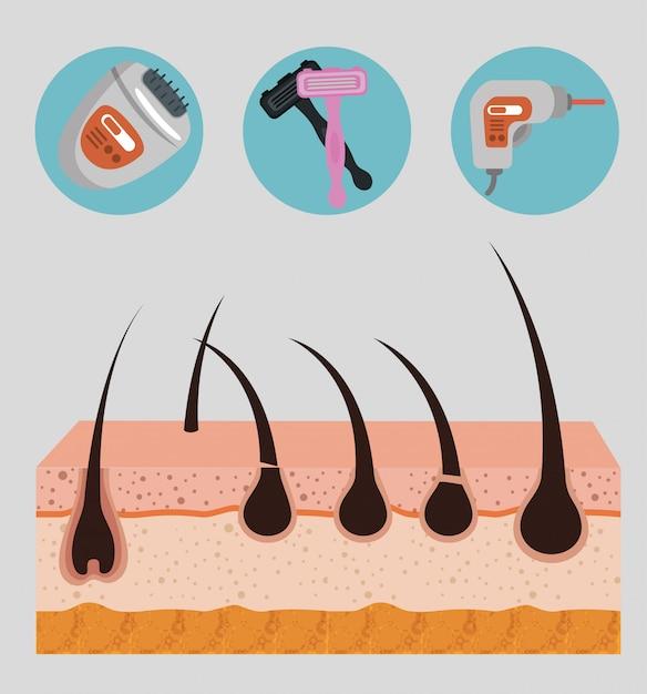 Lagen huidstructuur met ontharingselementen Gratis Vector