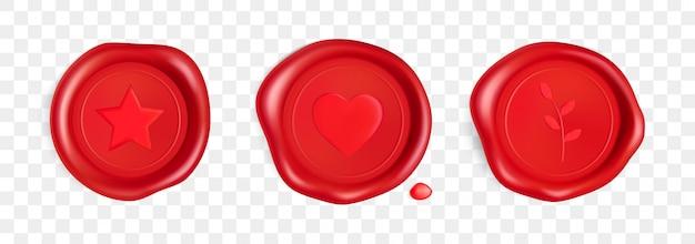 Lakzegel met hart, tak en ster. rode zegel lakzegel met hart, tak en ster geïsoleerd Premium Vector