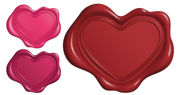 Lakzegel stempel in hartsymbool vorm Premium Vector