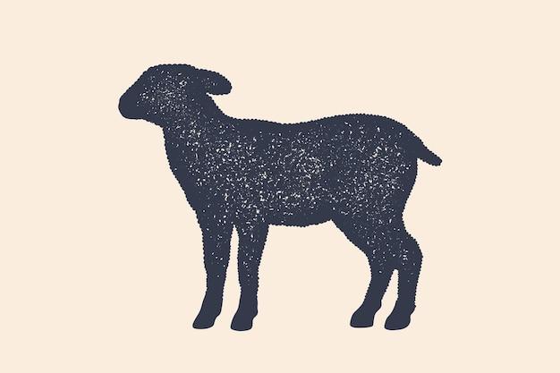 Lam, schaap. concept boerderijdieren - zijaanzichtprofiel van het lam of van schapen. zwart silhouet lam of schaap op witte achtergrond. vintage retro print, poster, pictogram. illustratie Premium Vector