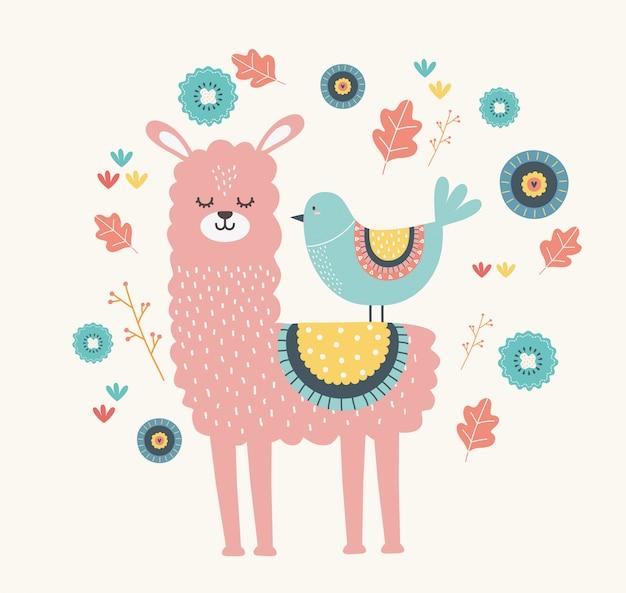 Lama en vogel cartoon Premium Vector