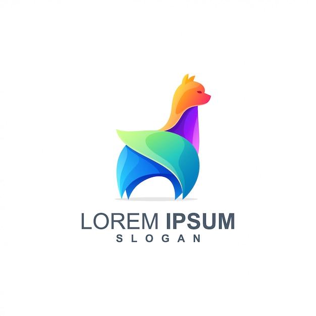 Lama logo-ontwerpkleur vol Premium Vector