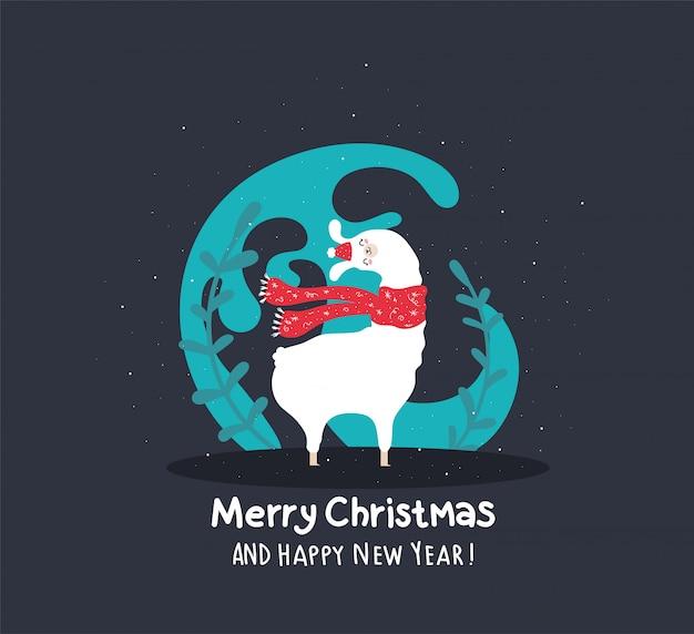 Lama met sneeuw en veel details. grappige alpaca. heb een heilige joly prettige kerstdagen en een prachtig gelukkig nieuwjaar. Premium Vector