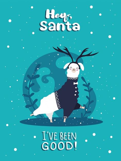 Lama met sneeuw en veel details. grappige alpaca herten. hé santa, ik heb me goed gedragen. Premium Vector