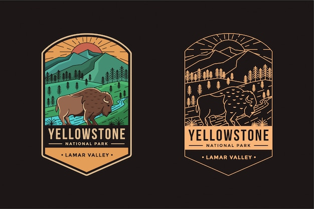 Lamar valley of yellowstone national park embleem badge logo illustratie Premium Vector