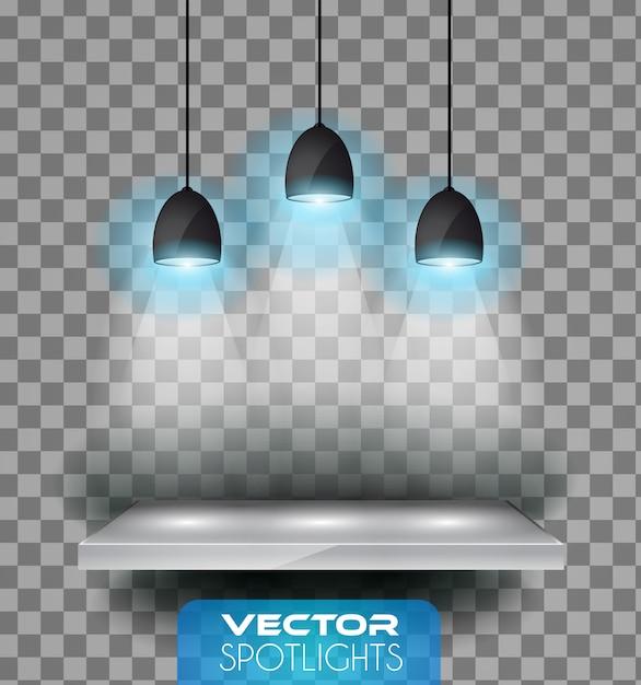 Lampen met halo van licht die naar de plank wijst Premium Vector