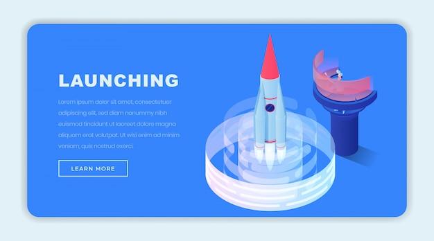 Lancering van de sjabloon voor isometrische bedrijfspagina's Premium Vector