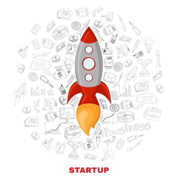 Lancering van de start van het bedrijf concept poster afdrukken Gratis Vector
