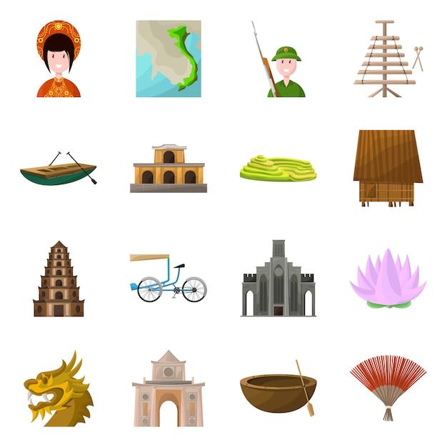 Land vietnam cartoon elementen. set elementen landmark van vietnam country-cultuur. Premium Vector