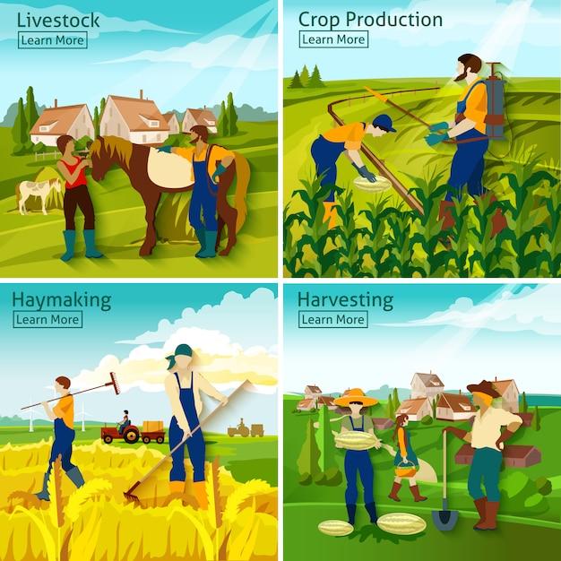 Landbouw 2x2 ontwerpconcept Gratis Vector