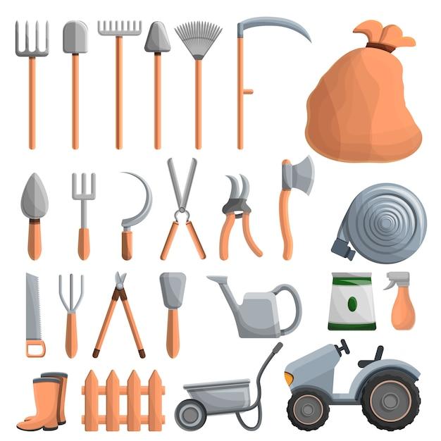 Landbouw apparatuur pictogrammenset, cartoon stijl Premium Vector