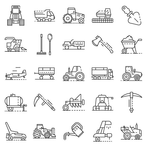 Landbouw apparatuur pictogramserie. overzichtsreeks landbouwapparatuur vectorpictogrammen Premium Vector