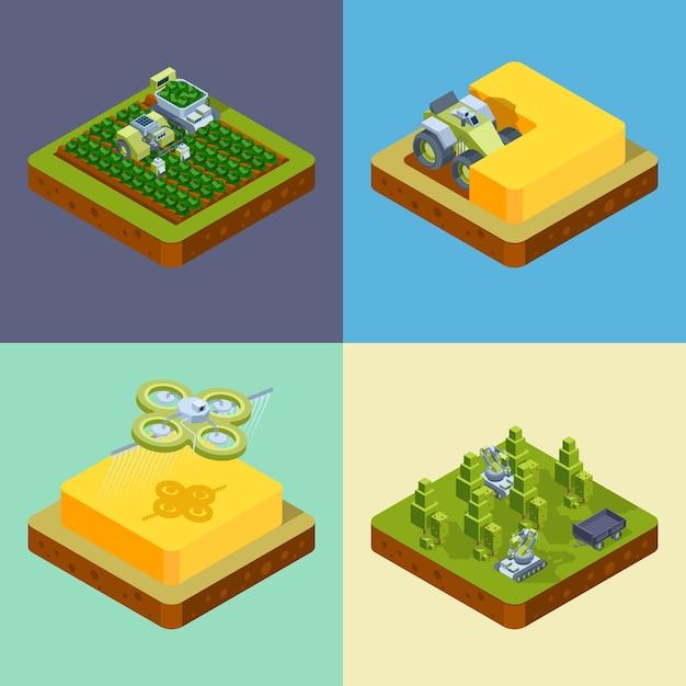 Landbouw concept. slimme landbouwprocessen oogsten zaaien besproeiingsnetwerk digitaal rijden harvester tractoren isometrisch. illustratie boerderij landbouw, maaidorser Premium Vector