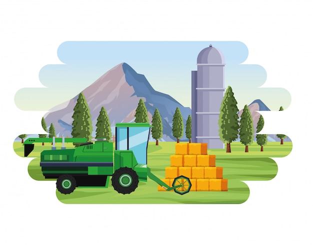 Landbouw landbouw combiner hooibalen silo en bomen landschap Premium Vector