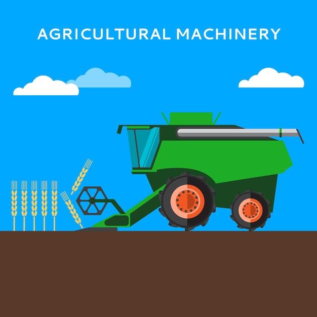 Landbouw maaidorser oogst op het tarweveld Premium Vector