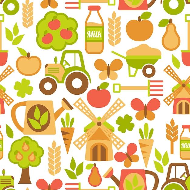 Landbouw naadloze patroon Gratis Vector