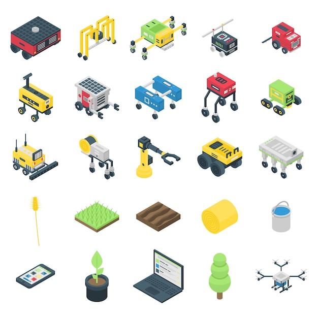 Landbouw robot pictogrammen instellen, isometrische stijl Premium Vector