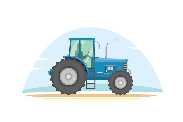 Landbouw tractor pictogram illustratie. zware landbouwmachines voor veldwerk. Premium Vector