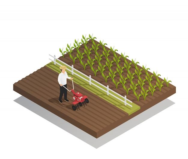 Landbouw tuinieren samenstelling van landbouwmachines Gratis Vector