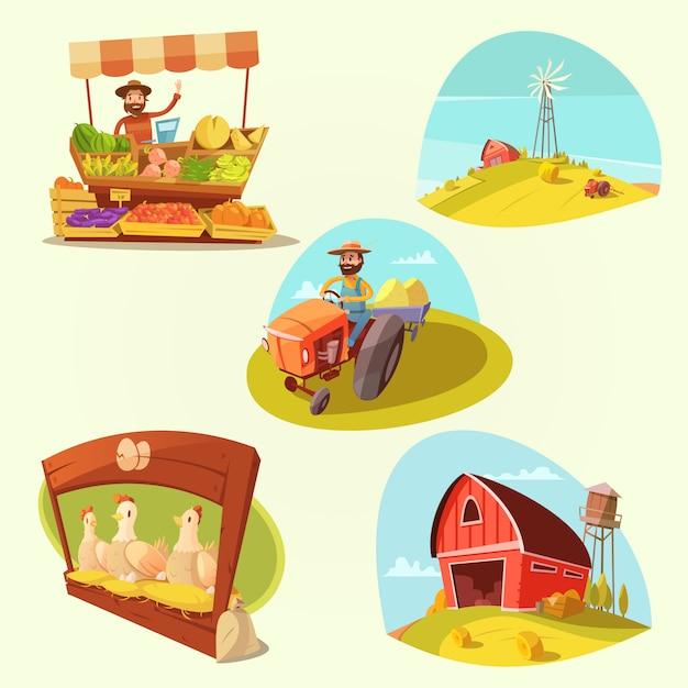 Landbouwbedrijfbeeldverhaal met landbouwer en producten op gele achtergrond geïsoleerde vectorillustratie wordt geplaatst die Gratis Vector