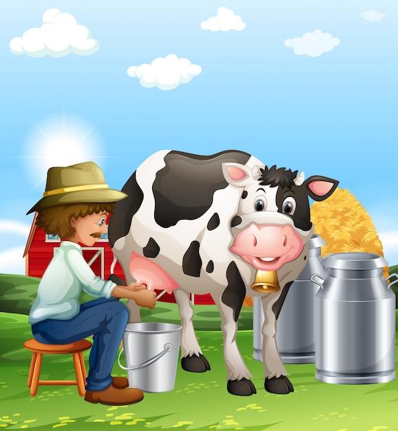 Landbouwer die een koe overdag melkt Premium Vector