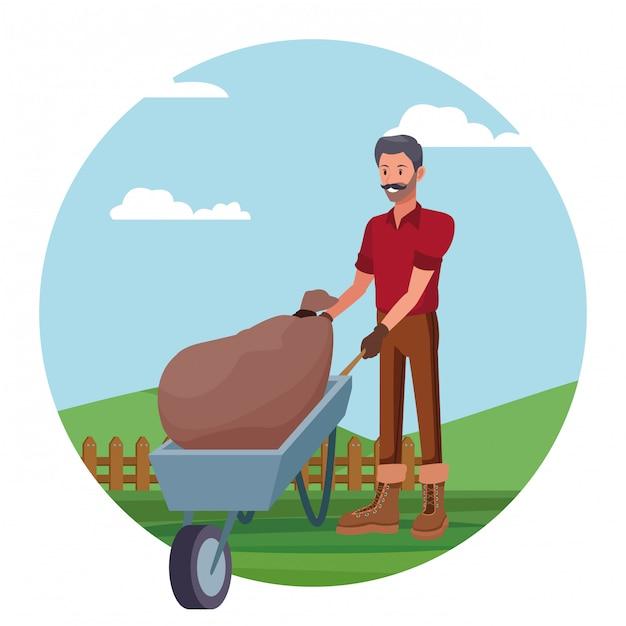 Landbouwer die in kampbeeldverhaal werken Gratis Vector