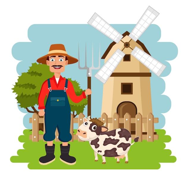 Landbouwer die zich naast koe voor windmolen bevindt Premium Vector
