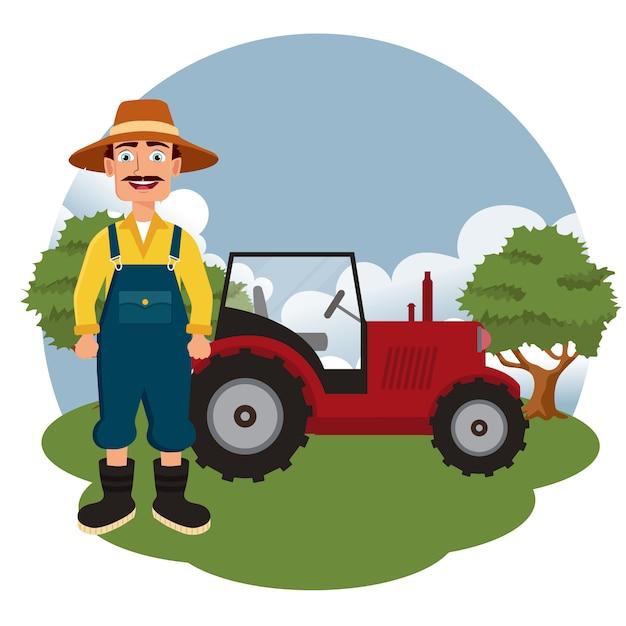 Landbouwer die zich naast tractor bevindt Premium Vector