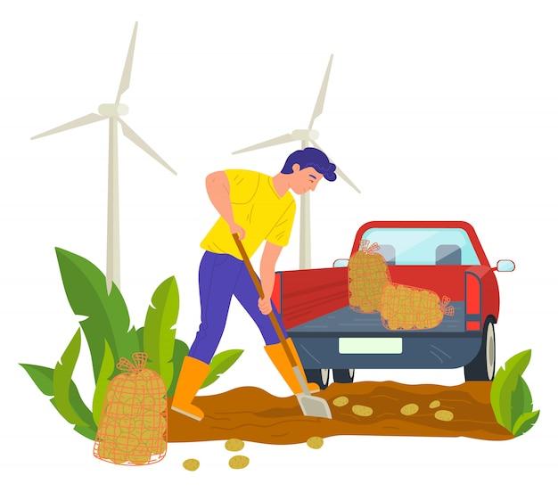 Landbouwer op plantage, tractor met zak Premium Vector